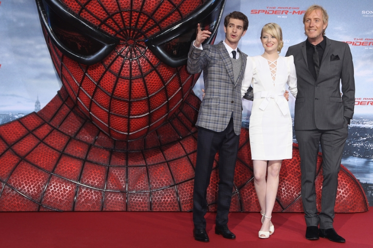 <p>Andrew Garfield, left, Emma Stone and Rhys Ilfans attend the German premiere of
