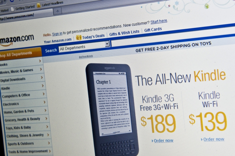 <p>The Amazon homepage is seen in Washington on Dec. 9, 2010 advertising its new Kindle e-reader.</p>