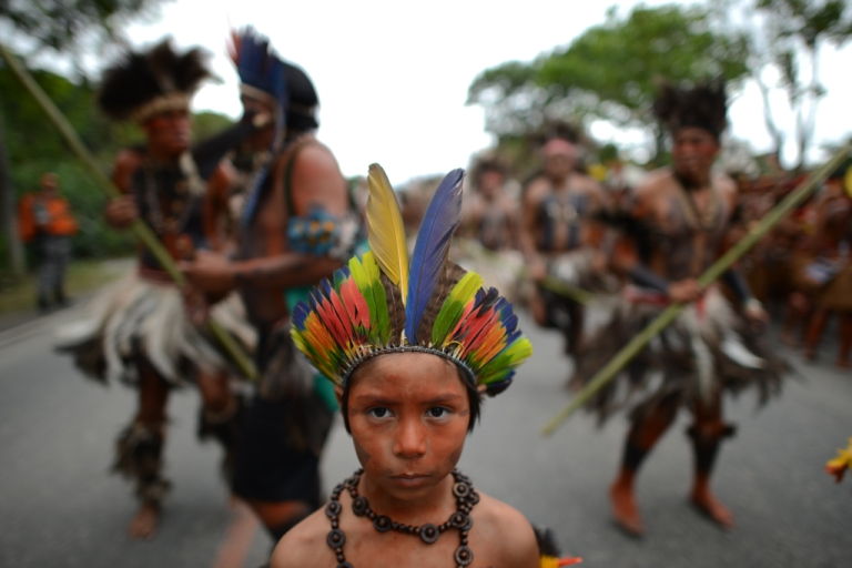 <p>Amazon.com shouldn't mess with its namesake jungle, say Peru and Brazil, home to indigenous peoples such as this group at the Rio+20 sustainable development summit in Rio de Janeiro, Brazil in June.</p>