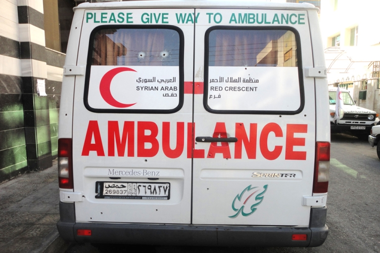<p>The Syrian Red Crescent ambulance was left peppered with bullet holes along its sides, rear and roof as well as through its front windscreen after the attack on September 7. The attack, which the Red Crescent blamed on Syrian security forces, killed one of the three volunteer medics.</p>