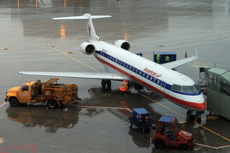 <p>TORONTO, ON - NOVEMBER 29:  On the day AMR declared bankruptcy, an American Airline planes are unloaded at Toronto Pearson Airport on November 29, 2011 in Toronto, Canada. (Photo by Bruce Bennett/Getty Images)</p>