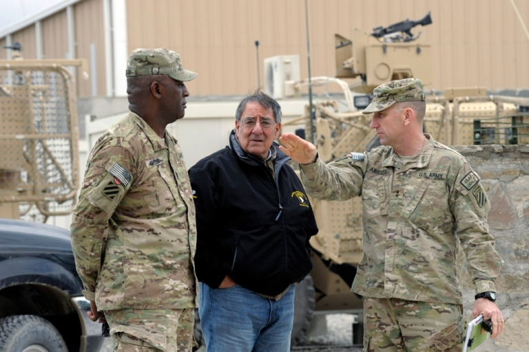 <p>US Defense Secretary Leon Panetta talks with Army Maj. Gen. Robert Abrams, (R) and Command Sgt. Maj. Edd Watson, (L) during a visit to Kandahar Airfield on December 13, 2013 Kandahar, Afghanistan. Secretary Panetta is meeting with Afghan president Hamid Karzai and top Afghan officials as the the U.S. look towards a decision on troop numbers once the U.S. led coalition ends in late 2014.</p>
