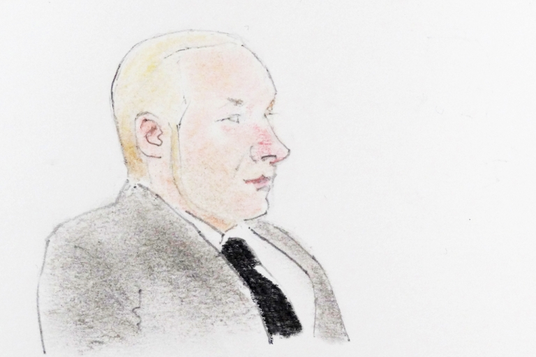 <p>A drawing of terror suspect Anders Behring Breivik during a hearing at the Oslo courthouse, on November 14, 2011. The Norwegian gunman killed 77 people in twin attacks on July 22, 2011, explaining that his massacre was a 'preventive attack against state traitors.'</p>