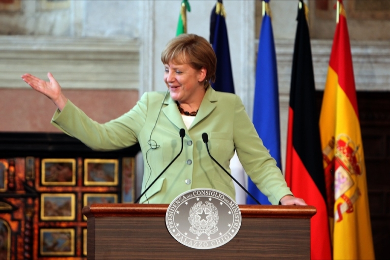 <p>German Chancellor Angela Merkel attends a media conference at the end of a meeting at Villa Madama in Rome, Italy. The leaders of Germany, Italy, Spain and France met in Italy's capital to form a consensus on the handling of Europe's financial crisis.</p>