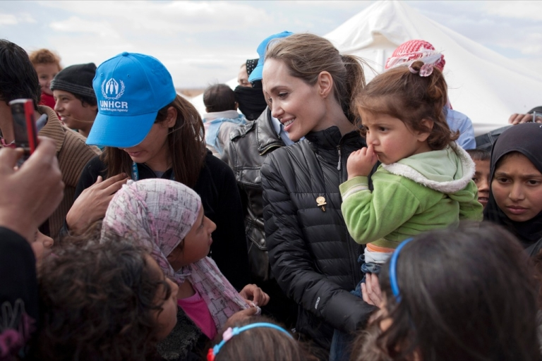 <p>UNHCR Special Envoy Angelina Jolie meets with refugees at the Zaatari refugee camp on December 6, 2012 outside of Mafraq, Jordan.</p>