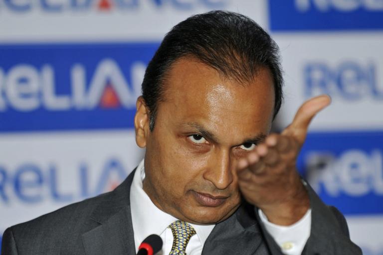 <p>Anil Ambani, chairman of Reliance Anil Dhirubhai Ambani Group, addresses a press conference in Mumbai on Jan. 16, 2011.</p>