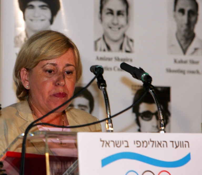 <p>Ankie Spitzer, the widow of murdered Israeli fencing coach Andre Spitzer, speaks in August 2004 at a memorial event for the Israeli victims of terrorism in the 1972 Munich Olympic Games. The event was held in Athens at the residence of the Israeli ambassador to Athens, Ram Avriam.</p>