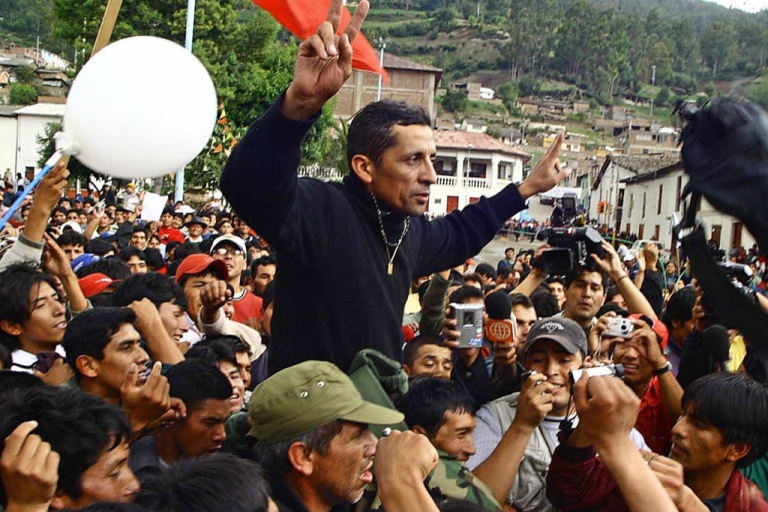<p>Former Army Major and Peruvian nationalist Antauro Humala, is cheered by supporters across Andahuaylas' Plaza de Armas, 03 January 2005.  He is the brother of Peruvian President Ollanta Humala and seems destined to ruin him.</p>