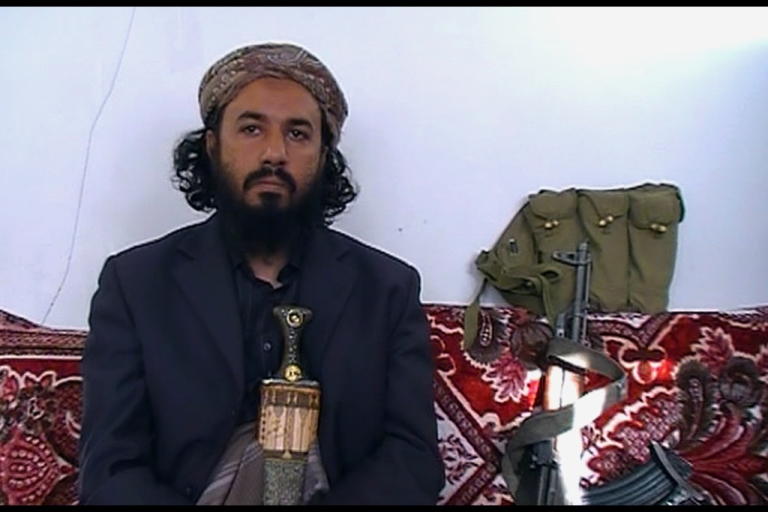 <p>Militant leader Tareq al-Dahab -- a brother-in-law of US-born jihadist cleric Anwar al-Awlaqi who was killed in a US drone strike last September, sits in the Amiriyah mosque in the town of Rada, 130 kilometres (85 miles) southeast of the capital Sanaa, on January 18, 2012.</p>
