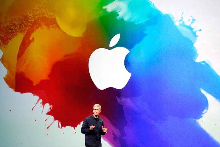<p>Apple CEO Tim Cook speaks during an Apple product launch event at Yerba Buena Center for the Arts on March 7, 2012 in San Francisco, California. What would you ask Cook if you were the winning bidder?</p>