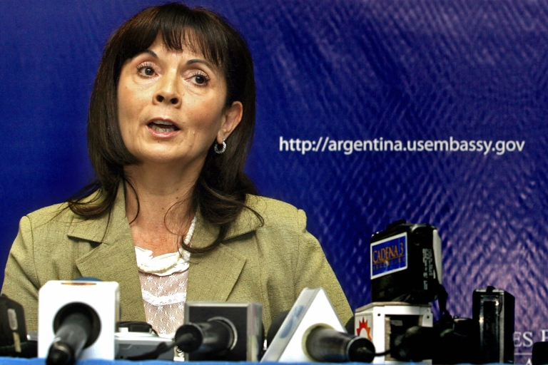 <p>Argentine Susana Trimarco, a prominent campaigner against human trafficking, speaks after winning an award from the US State Department in 2007.</p>