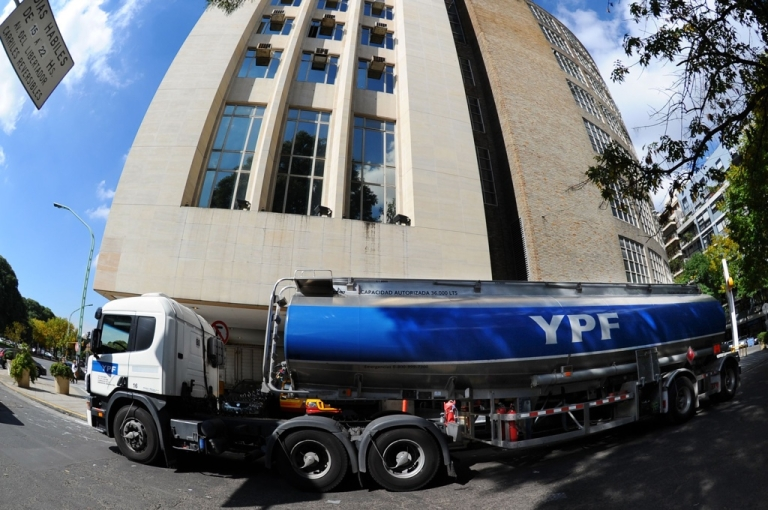 <p>A truck carrying gasoline in downtown Buenos Aires on April 17, a day after Argentine President Cristina Fernandez de Kirchner announced YPF oil company, controlled by Spain's Repsol, would be expropriated.</p>