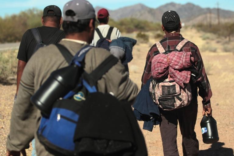 <p>Illegal immigrants on the border near Arizona.</p>