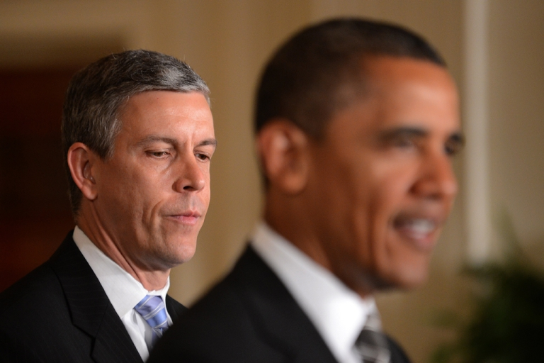 <p>Secretary of Education Arne Duncan came out in support of legalizing same-sex marriage on May 7, 2012, a day after Vice President Joe Biden also expressed his support for gay marriage.</p>