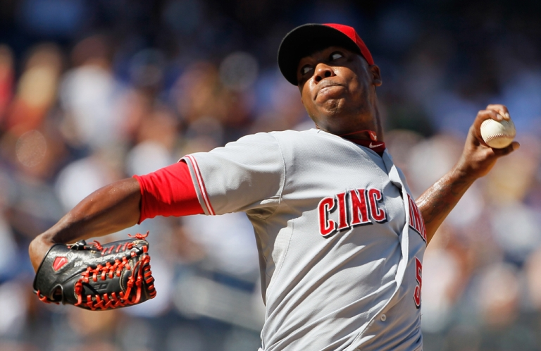 <p>Aroldis Chapman, #54 of the Cincinnati Reds, piches against the New York Yankees at Yankee Stadium on May 19 , 2012 in the Bronx borough of New York City. Chapman was arrested Monday morning for speeding with a suspended license.</p>