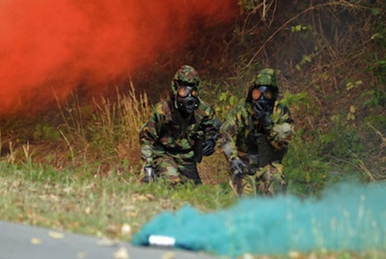 <p>Thai soldiers undergoing chemical gas training at Cobra Gold 2012 war games in February. The exercise involves 13,000 military personnel from seven nations: South Korea, Indonesia, Thailand, US, Singapore, Japan and Malaysia.</p>