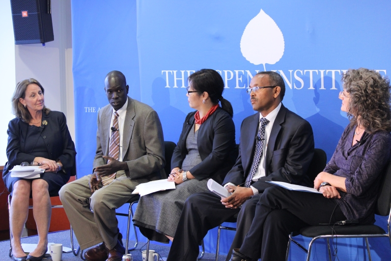 """<p>Salva Dut, founder and president of Water for South Sudan, speaks to the audience at a discussion called """"7 Billion: Conversations That Matter"""" hosted by the Aspen Institute's Global Health and Development in Washington, DC on April 18, 2012.</p>"""