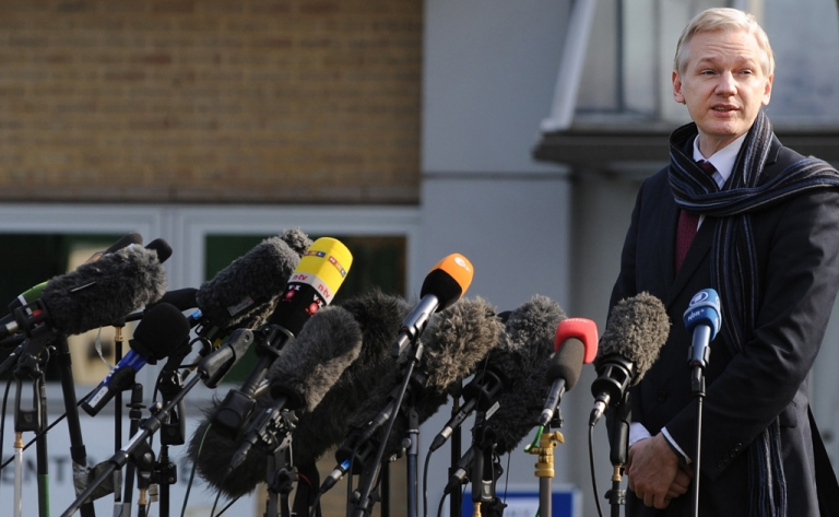 <p>WikiLeaks founder Julian Assange addresses the media as he leaves Belmarsh Magistrates' Court in London, Feb. 24, 2011. He's always been the retiring type.</p>