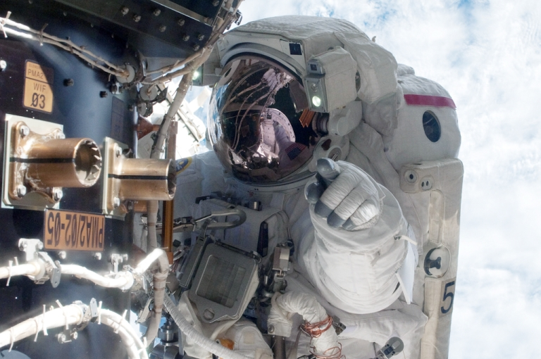 <p>Astronaut Mike Fossum during a six-and-a-half-hour spacewalk on July 12, 2011.</p>