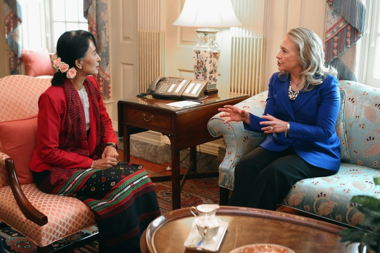 <p>US Secretary of State Hillary Clinton meets with Nobel Peace Prize winner and Myanmar pro-democracy opposition leader Aung San Suu Kyi in Clinton's office at the State Department, Sept. 18, 2012 in Washington, DC. Having spend most of the last two decades as a political prisoner under house arrest in her home nation of Myanmar, formerly known as Burma, Suu Kyi was elected to parliament in 2012 and her political party, the National League for Democracy, won a majority of seats.</p>