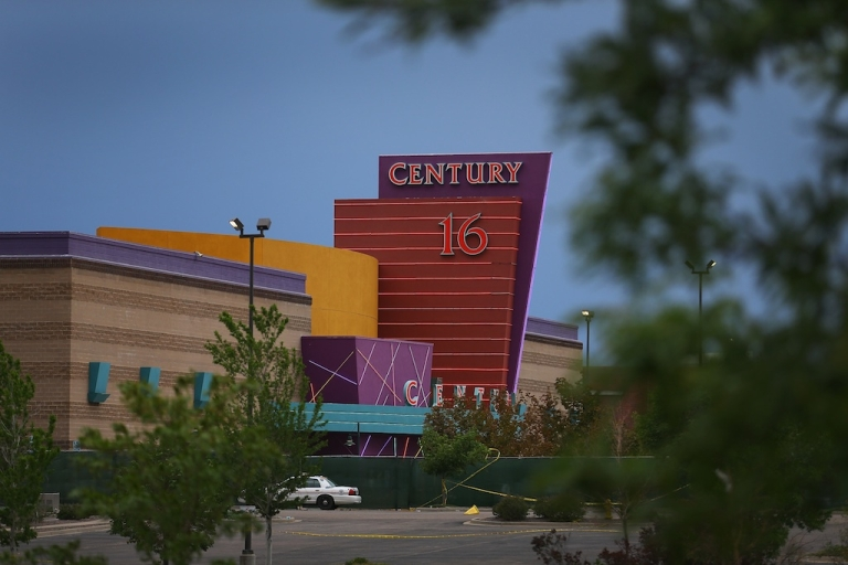<p>The Century 16 movie theatre is seen from a memorial setup across the street on July 28, 2012 in Aurora, Colorado.</p>