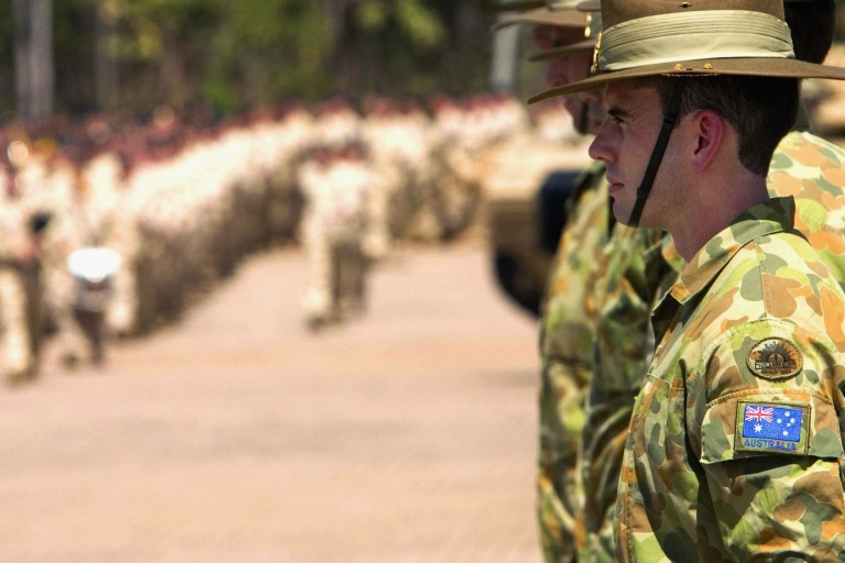 <p>Australian Defense Force soldiers line Robertson Barracks grounds during a parade to farewell 450 Australian troops before their deployment to Iraq May 10, 2007 in Darwin, Australia.</p>
