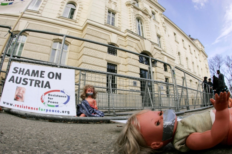 <p>Dolls lay in front of the courthouse in St. Poelten, Austria, on the third day of the Josef Fritzl trial on March 18, 2009.</p>