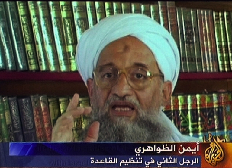 <p>A grab taken from a video produced by Al Qaeda-linked media group as-Sahab and broadcast by the Qatar-based satellite channel Al-Jazeera on September 11, 2006, shows Ayman al-Zawahiri.</p>