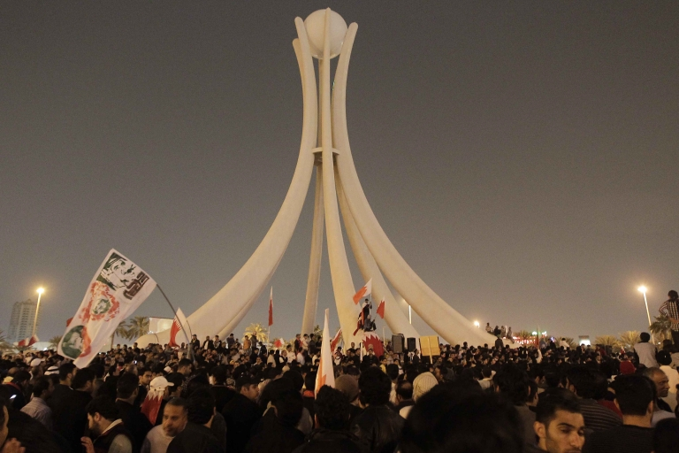 <p>Anti-government protesters gather at Pearl Square in Manama, the capital, for a demonstration calling for regime change on Feb. 16, 2011.</p>
