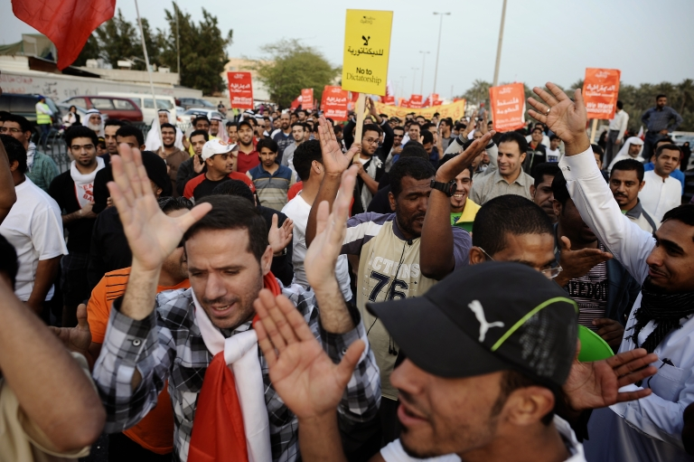 <p>Bahraini Shiite Muslims take part in an anti-government rally in Bilad al-Kadim, a suburb of Manama, on February 24, 2012. Another massive anti-government rally in Manama attracted tens of thousands of protesters on March 9, 2012.</p>
