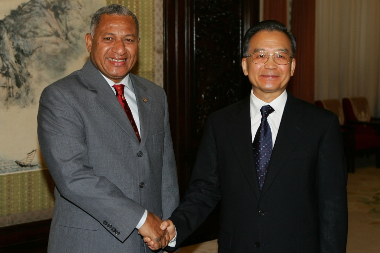 <p>Chinese Premier Wen Jiabao greets Fiji's Prime Minister Commodore Josaia Bainimarama on August 10, 2008 in Beijing. China's support of Fiji's military government has garnered criticism from Australia.</p>