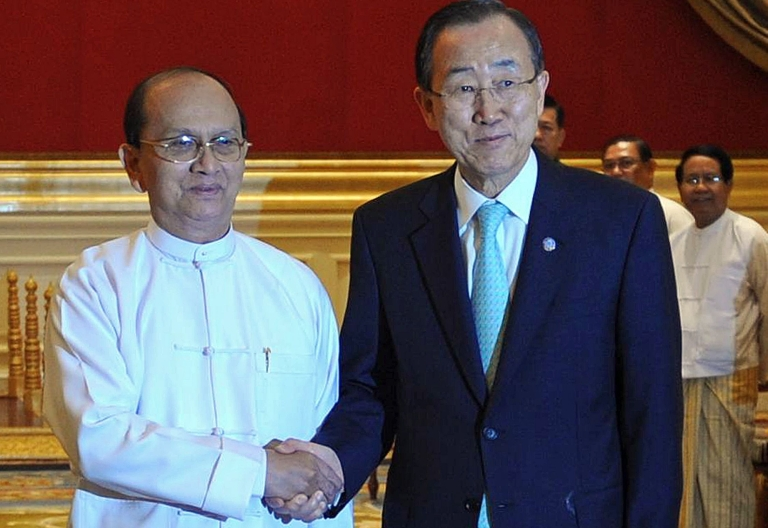 """<p>On Sunday UN Secretary-General Ban Ki-moon (R) described President Thein Sein, a former top general, as a """"key driver"""" of reforms in Myanmar, and called on western powers to further relax sanctions on the country """"so it doesn't slide back down the scale.""""</p>"""