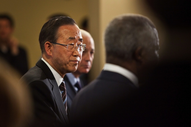 <p>United Nations (UN) Secretary General Ban Ki-Moon speaks during a news conference after the UN Security Council held consultations regarding the UN Supervision Mission in Syria on June 7, 2012 at the United Nations Headquarters in New York City.</p>