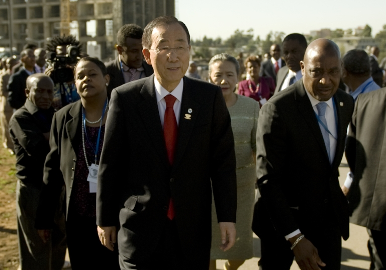 <p>UN Secretary General, Ban Ki Moon arrives on January 29, 2012 for the official opening of the African Union (AU) summit in Addis Ababa, Ethiopia. African Union leaders met Sunday for their first summit since the death of the bloc's founder Muammar Gaddafi, with intense lobbying for its top jobs overshadowing the start of the talks.</p>