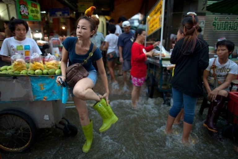 <p>A Thai woman and her pet parrot, perched atop her head, walk through a flooded riverside market in Bangkok on Oct. 27, 2011.</p>