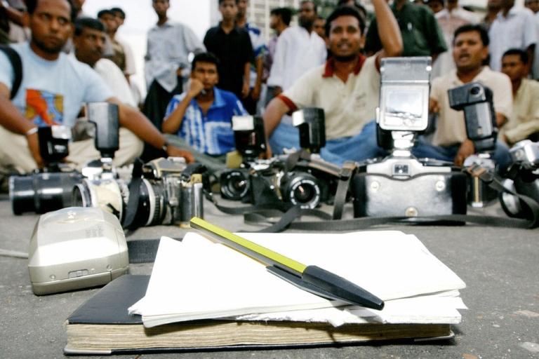 <p>Bangladeshi journalists demonstrate in Dhaka in 2004.</p>