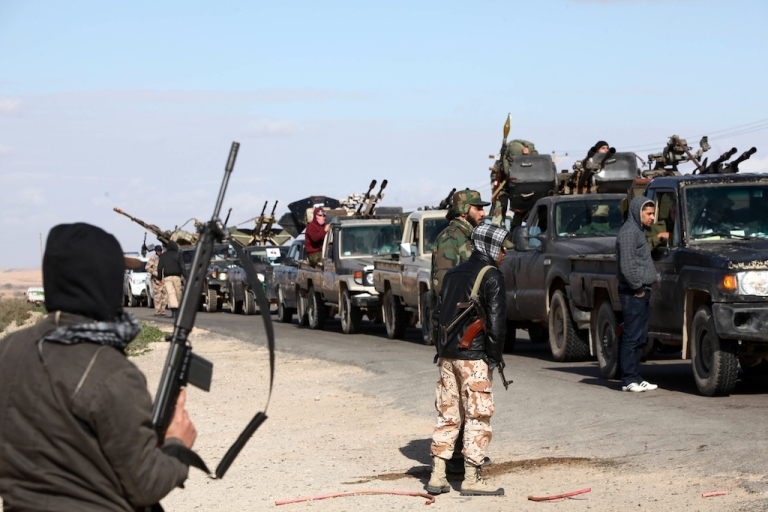 <p>On Jan, 25, 2012 Libya rebels gathered at a checkpoint 60 kms from the town of Bani Walid. James Foley was captured on the front lines in Bani Walid, a center of back and forth conflict in the early days of the revolution.</p>