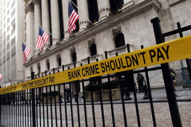 <p>Activists protest bank bonuses Dec. 15, 2010 in New York City.</p>