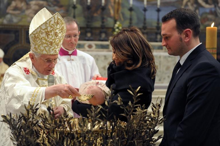 <p>Pope Benedict XVI celebrates baptisms in the Sistine Chapel in Vatican City on Jan. 8, 2012.</p>