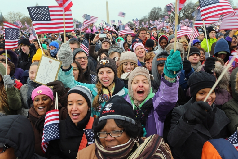 <p>People cheer during the Inauguration ceremony on Jan. 21, 2013, in Washington, D.C. US President Barack Obama was sworn in for his second term Monday.</p>