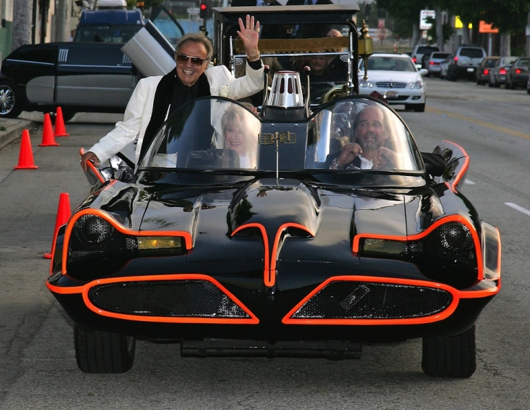 <p>Hollywood car creator George Barris arrives in the TV Batmobile for the Friars of Beverly Hills celebrity fundraiser dinner gala presenting their Life Achievement Award to Barris at the Friars of Beverly Hills on June 17, 2006 in Beverly Hills, California.</p>