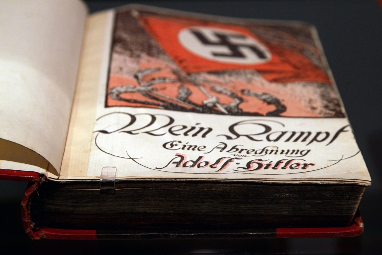 """<p>The book Mein Kampf, or """"My Struggle,"""" by Adolf Hitler is pictured during a press preview of """"Hitler and the Germans Nation and Crime"""" at the German Historical Museum in October, 2010 in Berlin.</p>"""