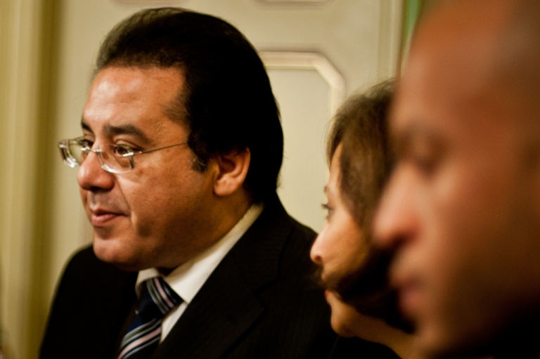 <p>Dr. Ayman Nour speaks to journalists in Cairo after his conviction was upheld by an Egypt court.</p>