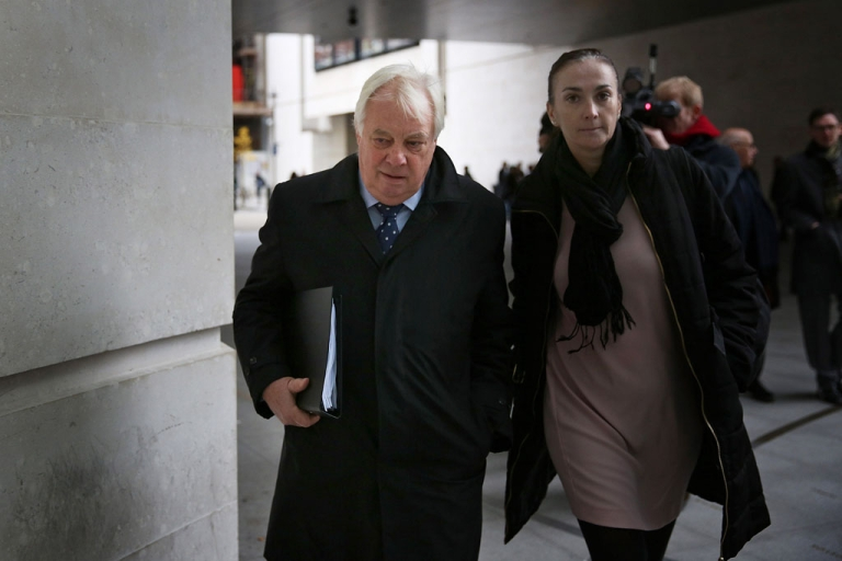 <p>BBC Trust chairman Lord Patten, left, arrives at Broadcasting House on December 19, 2012 in London, England. The BBC Trust announced findings of the Pollard Review into the corporation's handling of sexual abuse allegations against former employee Jimmy Savile.</p>