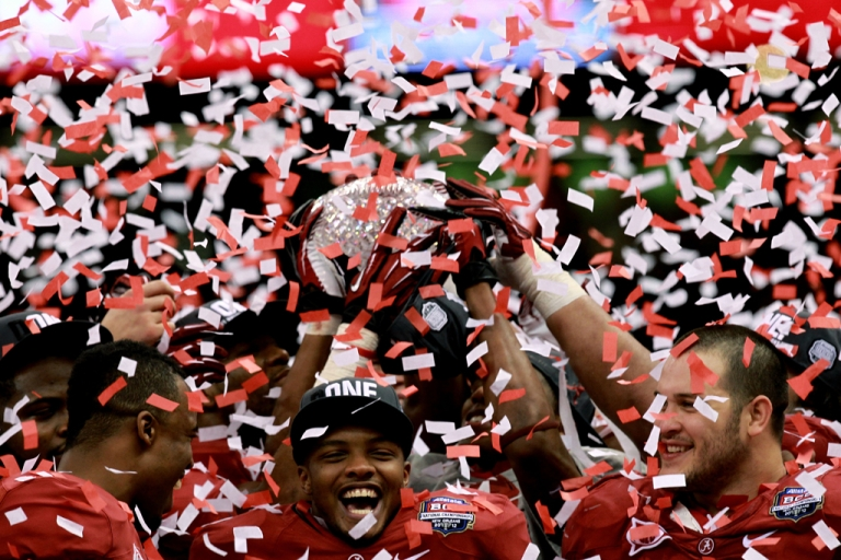 <p>Marquis Maze (No. 4) and the Alabama Crimson Tide celebrate after defeating the LSU Tigers in the 2012 BCS national championship game at the Superdome on Jan. 9 in New Orleans. Alabama  won of 21-0.</p>