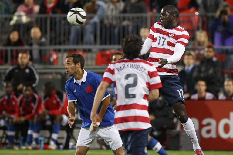<p>US soccer player Jozy Altidore heads the ball against Canada during their international friendly match on June 3, 2012 at BMO Field in Toronto, Ontario, Canada.</p>