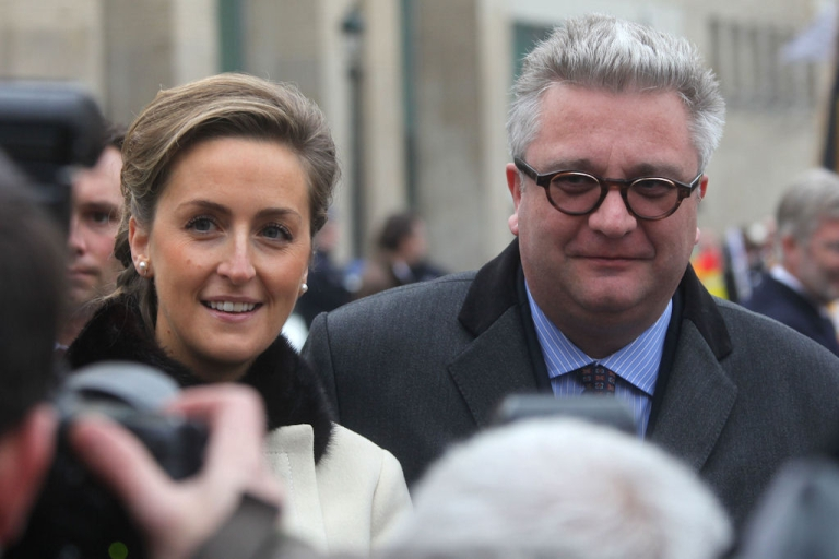 <p>Princess Claire and Prince Laurent of Belgium pose for a photo near the Brussels' Cathedral on Nov. 15, 2010.</p>