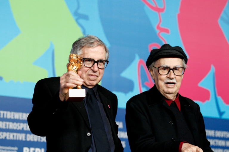 <p>Italian directors Vittorio and Paolo Taviani receive the Golden Bear prize for their film