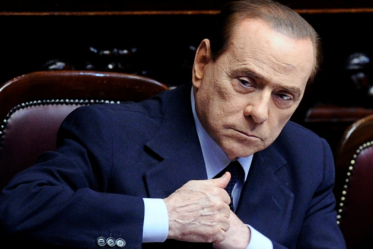 <p>Italian Prime Minister Silvio Berlusconi inside the Parliament in Rome on July 15, 2011.</p>