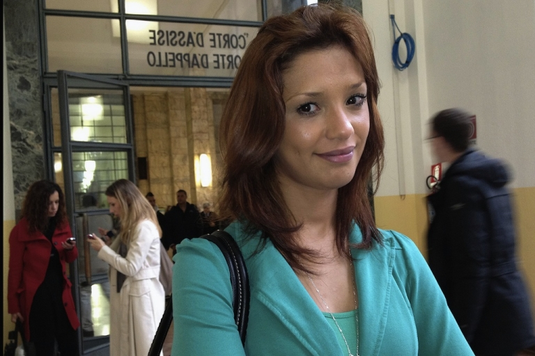 <p>Model Imane Fadil arrives at Milan's court  on April 16, 2012 during the trial of the ex-premier Silvio Berlusconi for allegedly having sex with an underage girl.</p>